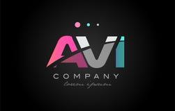 AVI a v i three letter logo icon design. AVI a v i three 3 letter logo combination alphabet vector creative company icon design template modern pink blue white vector illustration