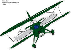 Avia B.534双翼飞机草图 向量例证