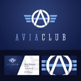 Avia club logo and business card template. Stock Photos