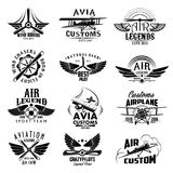 Aviation retro airplane sport team vector icons. Avia customs and retro aviation symbols of airplane propeller and aircraft wings. Vector isolated icons and Royalty Free Stock Photo