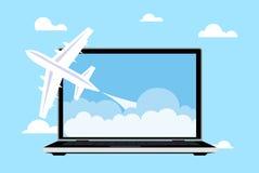 Avia di viaggio online Fotografie Stock