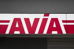 Avia petrol station. BASEL, SWITZERLAND - SEPTEMBER 22, 2018: Detail of Avi petrol station in Basel, Switzerland. Avia is fuel distribution company with over royalty free stock image