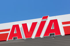 AVIA sign on the roof of the filling station Royalty Free Stock Image