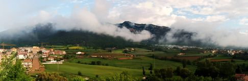 Avia town landscape. Avia town covered with low clouds (Berga-Bergueda-catalonia-Spain Stock Photos