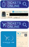 Avia and train tickets online. Railroad and flight tickets design, online transport service buttons for app, english text, train, jetplane and magnifying lens Royalty Free Stock Photography
