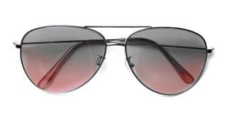 Aviador aislado Sunglasses con las lentes rojas fotografía de archivo