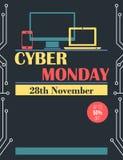 Aviador cibernético y cartel de lunes del estilo del vintage Foto de archivo libre de regalías
