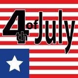 Aviador creativo de la invitación adornado con los movimientos azules y rojos del cepillo para el 4 de julio, celebración america Foto de archivo