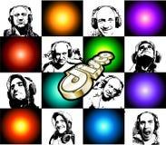 Aviador de Discoteque con muchas siluetas de DJ Imagen de archivo
