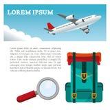 aviador de la búsqueda de la mochila del aeroplano del viaje ilustración del vector
