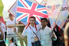 Aviador de la cometa de Reino Unido en el 29no festival internacional 2018 de la cometa - la India Fotos de archivo libres de regalías