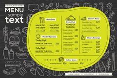 Aviador de la comida del diseño de la plantilla del menú del café del restaurante ilustración del vector