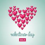 Aviador de la venta del día del ` s de la tarjeta del día de San Valentín con los corazones Ilustración EPS 10 del vector Imagen de archivo libre de regalías