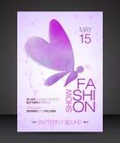Aviador del desfile de moda con la silueta púrpura de la acuarela de la mariposa hermosa Fotografía de archivo libre de regalías