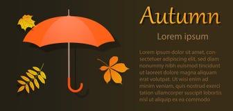 Aviador del otoño con el paraguas con las hojas stock de ilustración