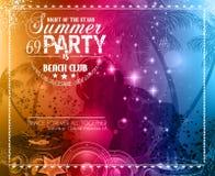 Aviador del partido del verano para los eventos del club de la música ilustración del vector