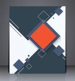 Aviador digital abstracto del folleto del negocio, diseño geométrico con los cuadrados de tamaño A4 Foto de archivo libre de regalías