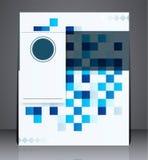 Aviador digital abstracto del folleto del negocio, diseño geométrico con los cuadrados de tamaño A4 Fotos de archivo