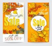 Aviador dos de la venta del otoño con las hojas de otoño Fotos de archivo libres de regalías