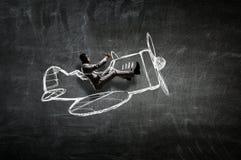Aviador en el avión retro Técnicas mixtas Imágenes de archivo libres de regalías