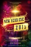 Aviador feliz del Año Nuevo 2019, tarjeta de felicitación, invitación, plantilla del diseño del menú en luces coloridas con ilumi stock de ilustración