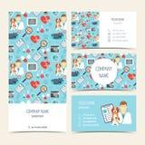 Aviador, folleto y tarjetas de visita para la clínica del veterinario Animal doméstico care Sistema de productos promocionales Di libre illustration