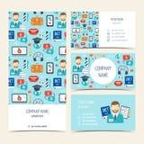 Aviador, folleto y tarjetas de visita para los cursos y las escuelas del idioma extranjero Sistema de productos promocionales Dis stock de ilustración