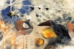 Aviador inoperante Skull fotografia de stock royalty free