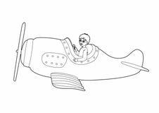 Aviador pequeno de tiragem Imagem de Stock