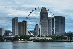 Aviador y el puerto deportivo CBD de Singapur Imagenes de archivo