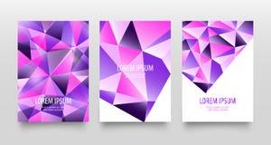 Aviadores o sistema de tarjeta abstractos geométricos modernos coloridos Colores violetas púrpuras brillantes de moda Diseño azul Fotos de archivo libres de regalías