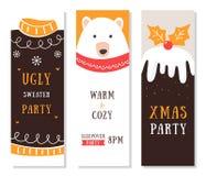 Aviadores, tarjetas e invitaciones de la Navidad Suéter y fiesta de pijamas feos imagen de archivo