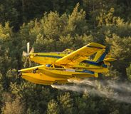 Avialsa T-35 - Canader, Fire-Fighter Airplane in Geres National Park Dam, Portugal. 23 of August 2017, Avialsa T-35 - Canader, Fire-Fighter Airplane in Geres royalty free stock photo
