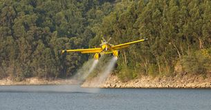 Avialsa T-35 - Canader, Fire-Fighter Airplane in Geres National Park Dam, Portugal. 23 of August 2017, Avialsa T-35 - Canader, Fire-Fighter Airplane in Geres stock photo