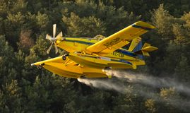 Avialsa T-35 - Canader, Fire-Fighter Airplane in Geres National Park Dam, Portugal. 23 of August 2017, Avialsa T-35 - Canader, Fire-Fighter Airplane in Geres stock images