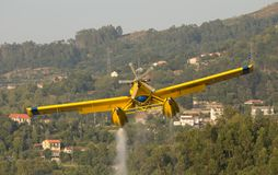 Avialsa T-35 - Canader, Fire-Fighter Airplane in Geres National Park Dam, Portugal. 23 of August 2017, Avialsa T-35 - Canader, Fire-Fighter Airplane in Geres royalty free stock images