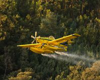 Avialsa T-35 - Canader, Fire-Fighter Airplane in Geres National Park Dam, Portugal. 23 of August 2017, Avialsa T-35 - Canader, Fire-Fighter Airplane in Geres royalty free stock photography