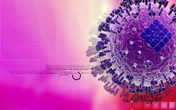 Avian Virus. Digital illustration of avian virus in colour background stock illustration