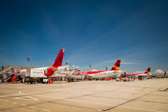 Avianca airplanes line up at international airport Royalty Free Stock Photo