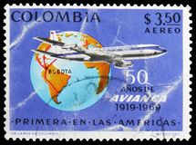 Avianca Boeing 720-B of the airline, with routes Globe, 50th Anniversary, 8th International Stamp Exhibition serie, circa 1969. MOSCOW, RUSSIA - MAY 25, 2019 royalty free stock photos