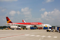Avianca flight at monteria airport Royalty Free Stock Photo