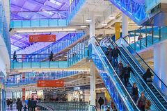 Aviapark, shopping and entertainment, located in Moscow. Moscow, Russia - November 30, 2014: Aviapark, shopping and entertainment, located in Moscow, Russia. The Royalty Free Stock Photos