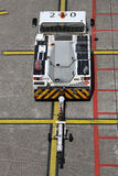 Aviapartner pushback tug with towbar attached at Dusseldorf airport stock images