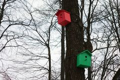 Aviari colorati Case variopinte dell'uccello Immagini Stock Libere da Diritti