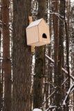 Aviario di legno che appende sull'albero all'inverno Immagini Stock