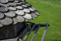 Aviario di legno con il prato verde di estate immagine stock