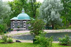 Aviary at Peter the Great`s Summer Palace royalty free stock image