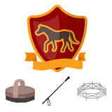 Aviary, whip, emblem, hippodrome .Hippodrome and horse set collection icons in cartoon style vector symbol stock Royalty Free Stock Photos