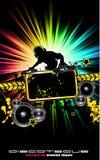 Aviateur coloré de disco du DJ avec des couleurs d'arc-en-ciel Images libres de droits