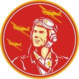 Aviateur pilote Fighter Plane Circle de la guerre mondiale 2 rétro Photos stock